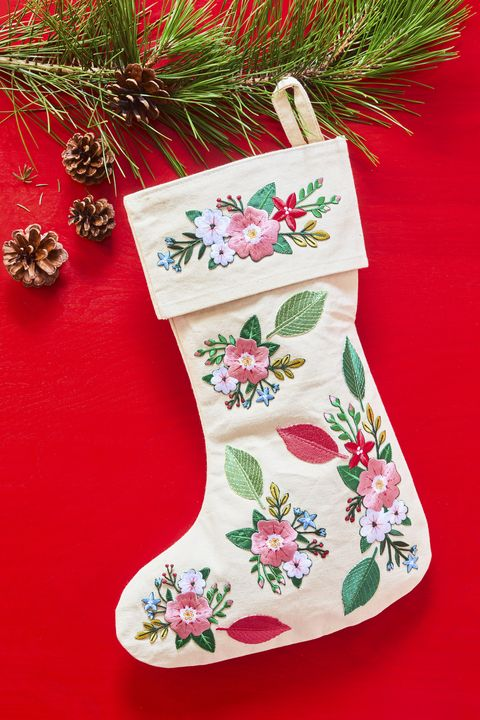 diy christmas stockings floral patches