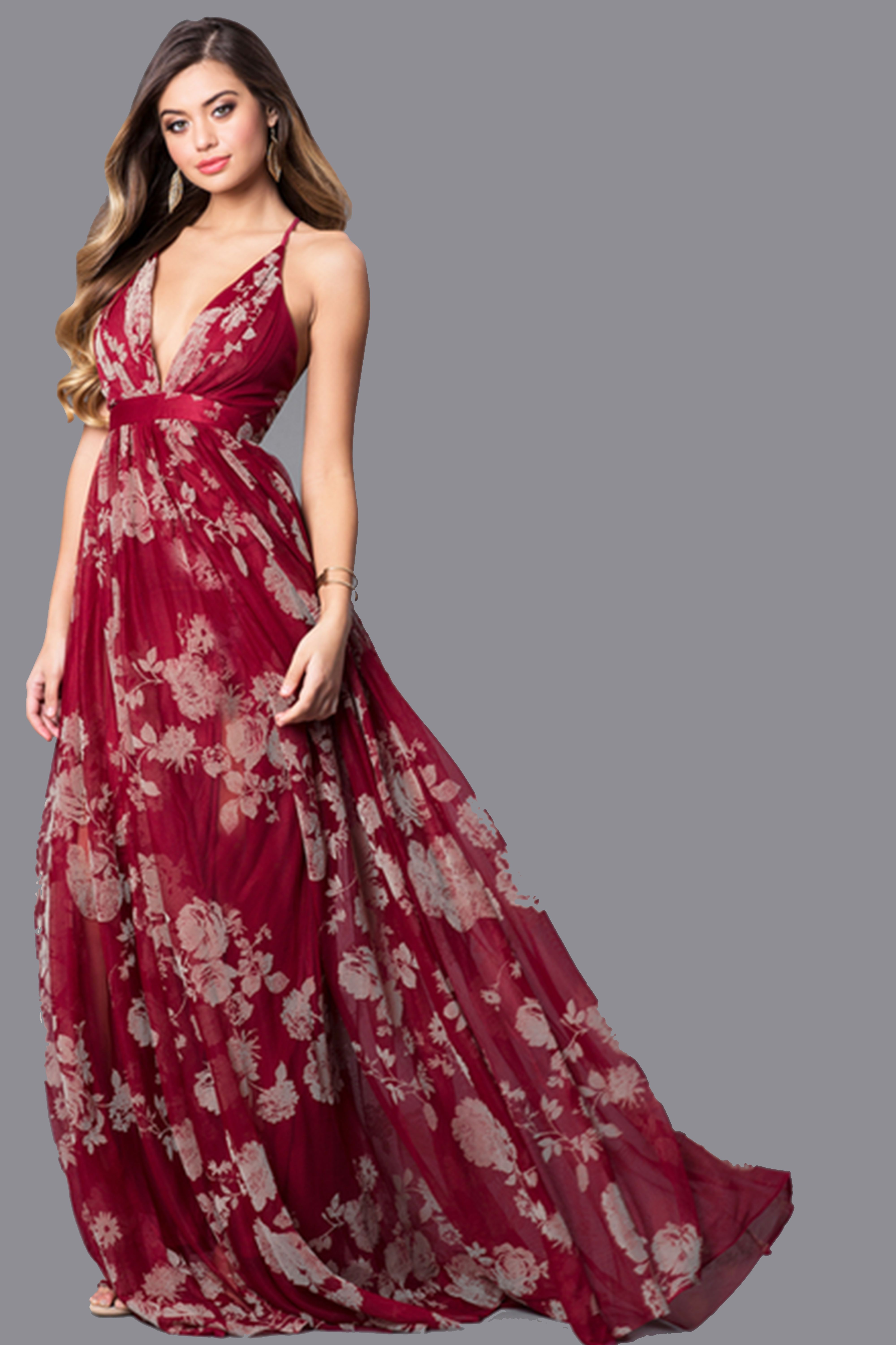 Firy Red Long Prom Dresses