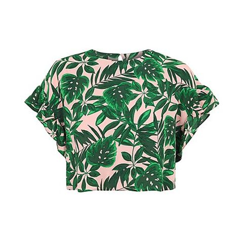 Clothing, Green, Crop top, T-shirt, Sleeve, Leaf, Shirt, Top, Blouse, Outerwear,