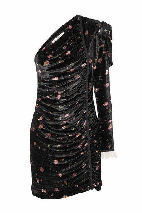 PHILOSOPHY DI LORENZO SERAFINI One-shoulder floral-print velvet mini dress