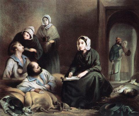 florence nightingale, british nurse and hospital reformer, at scutari hospital, turkey, 1855