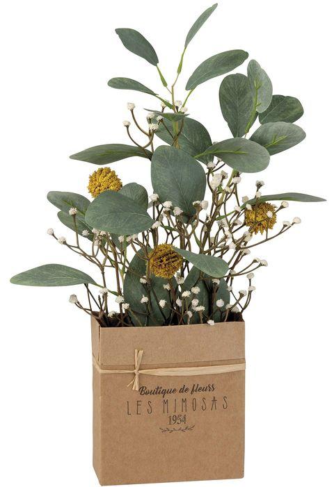 Flores artificiales con caja de papel de estraz