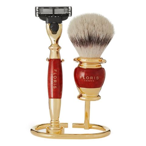 floris london threepiece goldplated and briarwood shaving set