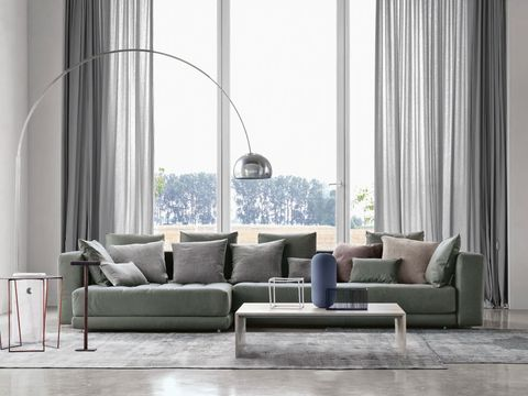 Living room, Furniture, Couch, Room, Interior design, Curtain, Floor, Coffee table, Window, Table,
