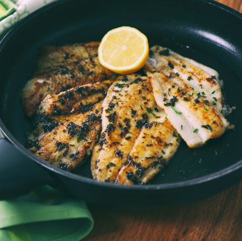 Flounder fillet roasted in a skillet