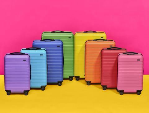 Magenta, Purple, Pink, Line, Violet, Baggage, Lavender, Parallel, Electric blue, Plastic,