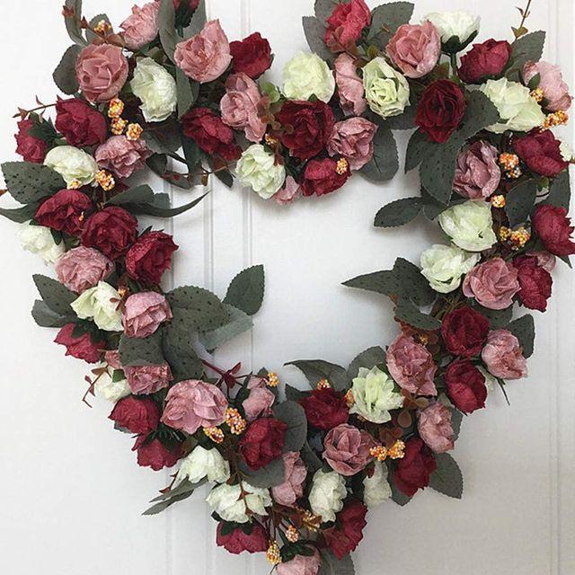 artificial flower heart wreath