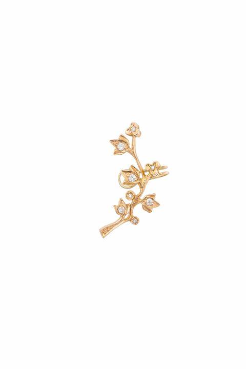 mono orecchino flower x large oro  diamanti