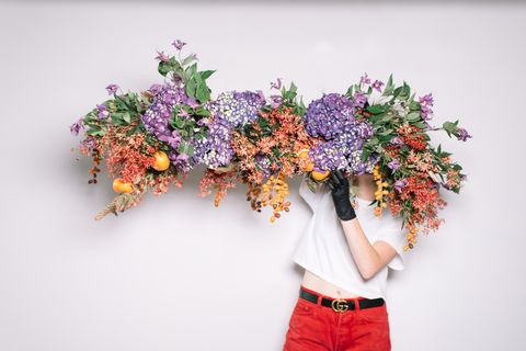 Flower walls are out floral chandeliers are in sarah lineberger flower chandelier aloadofball Image collections