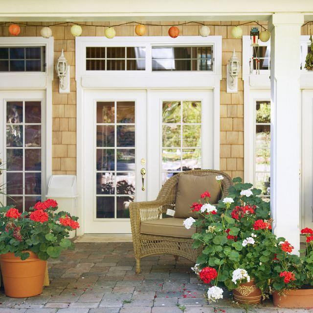 Flowerpots on luxury patio