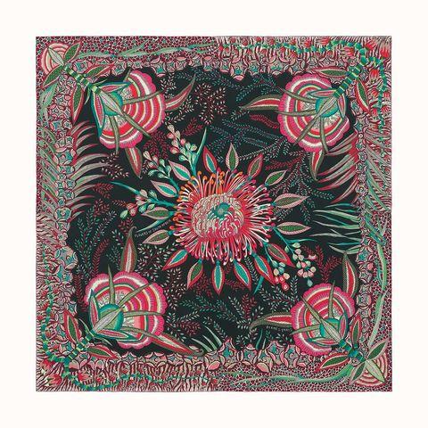 hermes red floral silk scarf