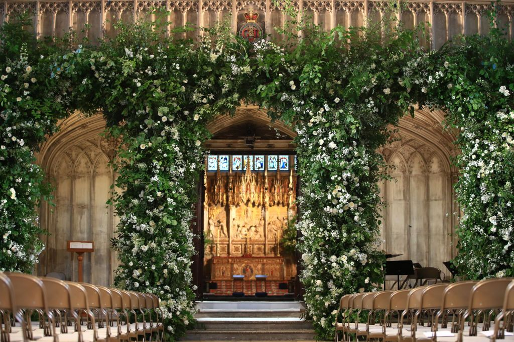 A bundle of greenery embellished on the front of the organ loft inside St George's Chapel.