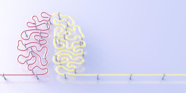fluorescent lamps forming brain, 3d rendering