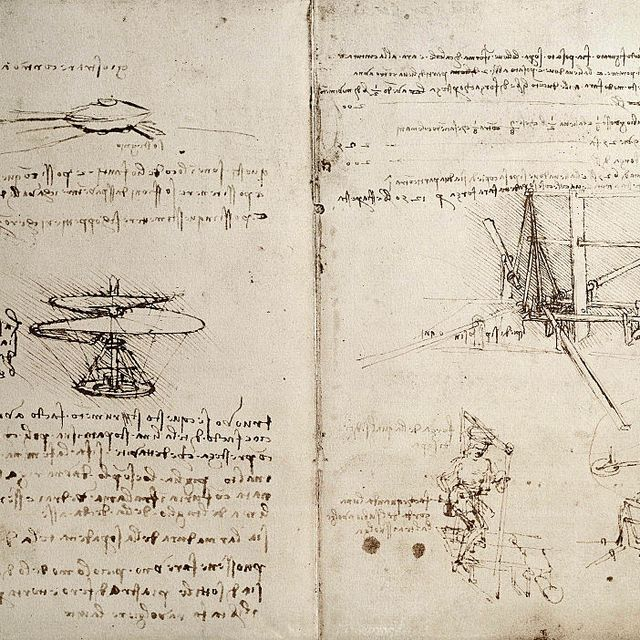 Drawing of flying machines by Leonardo da Vinci