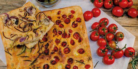 Food, Cuisine, Dish, Ingredient, Focaccia, Tarte flambée, Italian food, Produce, Tomato, Flatbread,
