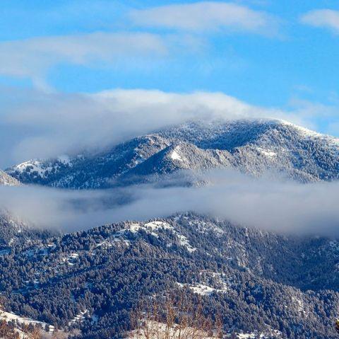 bridger mountains near bozeman montana in winter