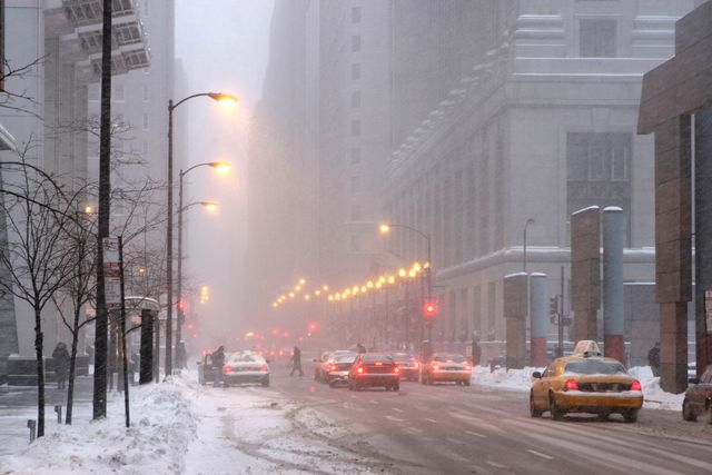 foggy morning along city street in chicago