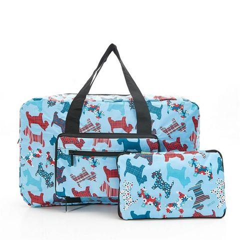 Folding Holdall Travel Bag Scottie Dog Print - Hand Luggage Size - Eco Chic