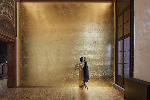 Wall, Light, Yellow, Tile, Architecture, Floor, Door, Room, Interior design, Art,