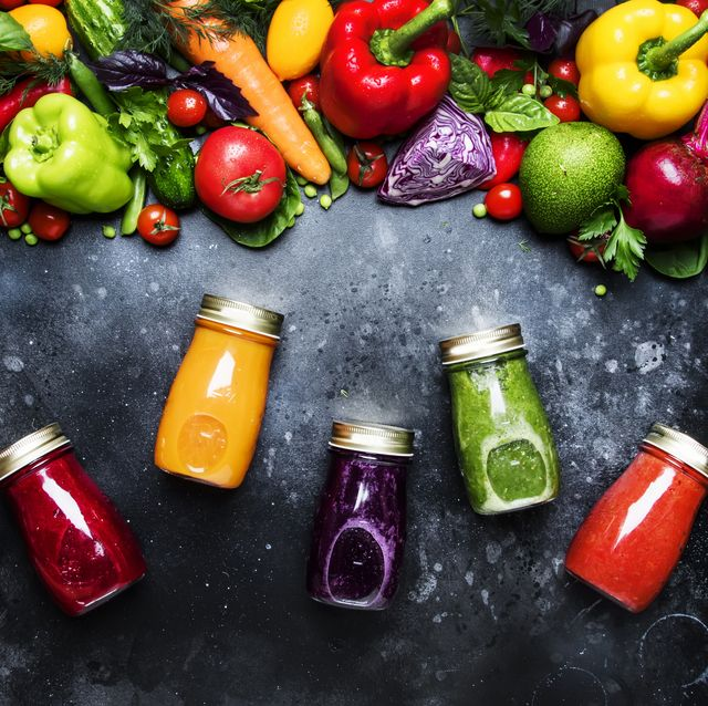 food and drinks, healthy and useful multicolored vegetable juice