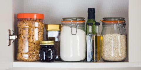 food cupboard, pantry with jars