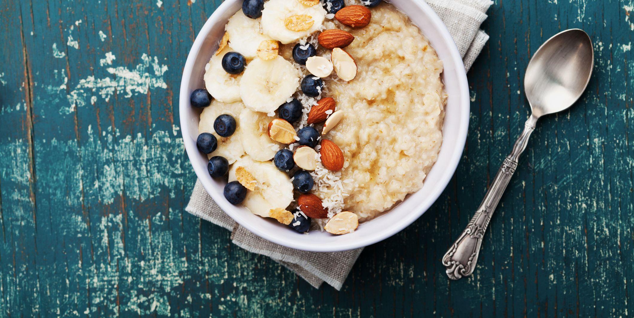 Oatmeal porridge, healthy food for breakfast, top view, flat lay