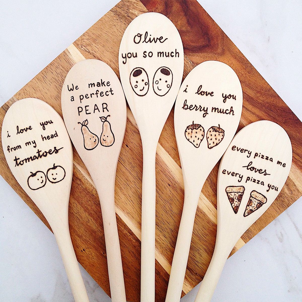 food gifts punny wooden spoons