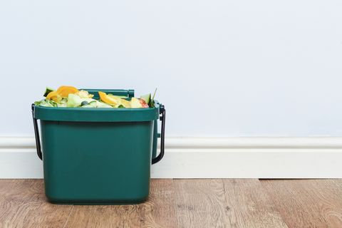 food waste from domestic kitchen responsible disposal of household food wastage in an environmentally friendly way by recycling in compost bin at home