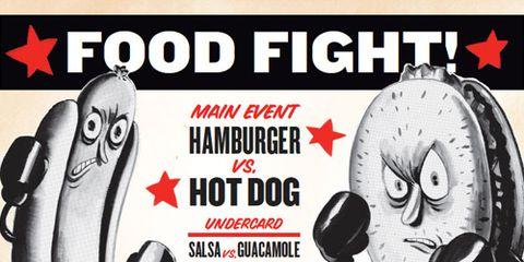 Food Fight between Hamburger and Hot Dog