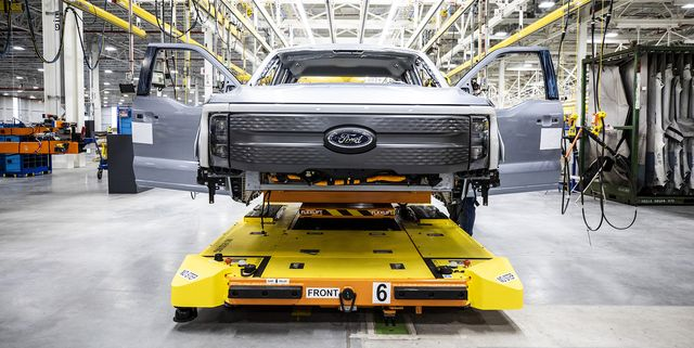 one year after ford confirmed construction of the rouge electric vehicle center in dearborn, mich, the first ford f 150 lightning pre production units begin leaving the factory pre production model shown f 150 lightning available starting spring 2022