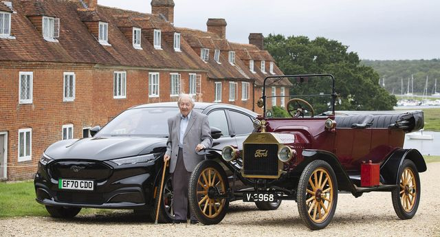 embargoed to 0001 monday august 23editorial use onlyford is celebrating a lifelong ford customer, aged 101 and still driving mr baggott learnt to drive in a model t in the 1930s and is looking to get behind the wheel of an electric car ford has arranged for mr baggott to experience a passenger ride in a ford model t from 1915, before he drives his great grandchildren in an electric mustang mach e, from 2021 issue date monday august 23, 2021 pa photo photo credit should read matt alexanderpa wire