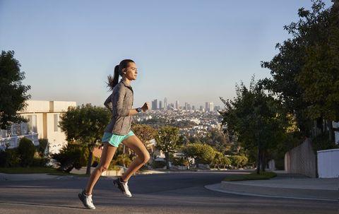 Running, Jogging, Sky, Recreation, Exercise, Tree, Individual sports, Fun, Leg, Jumping,