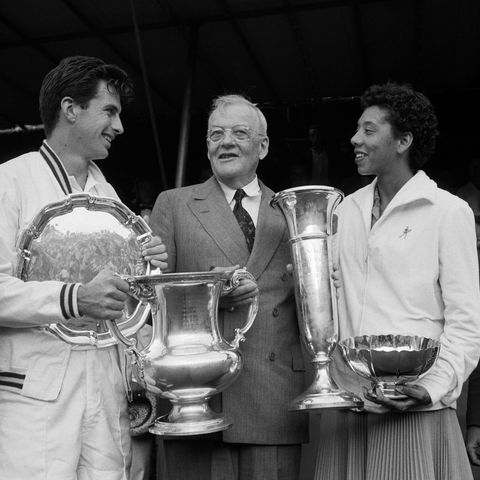Althea Gibson and Ashley Cooper with Trophies