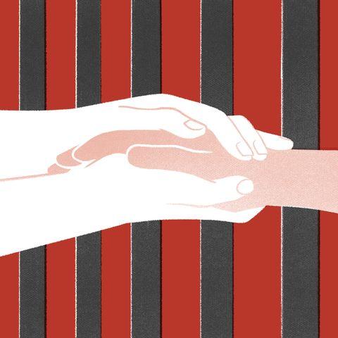Red, Line, Hand, Gesture, Design, Finger, Pattern, Flag, Graphic design, Illustration,