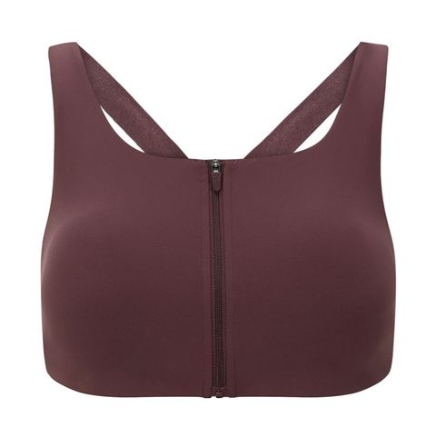 product flat lay of burgundyberry coloured sports bra with front zip and cross back strap