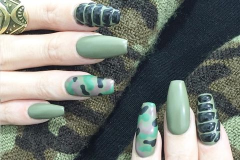 Nail, Nail polish, Green, Manicure, Finger, Nail care, Cosmetics, Turquoise, Hand, Artificial nails,