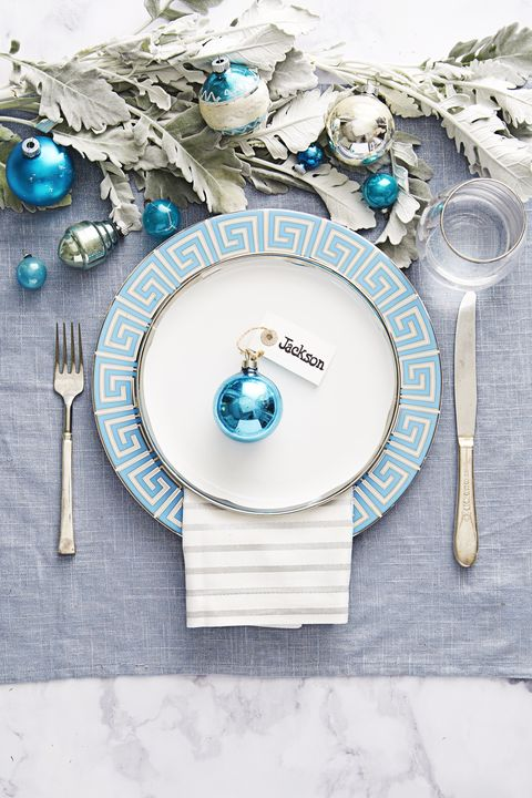 formal blue christmas table setting