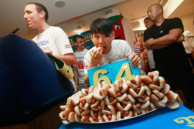 nathans hot dog eating contest champions attend official weighin