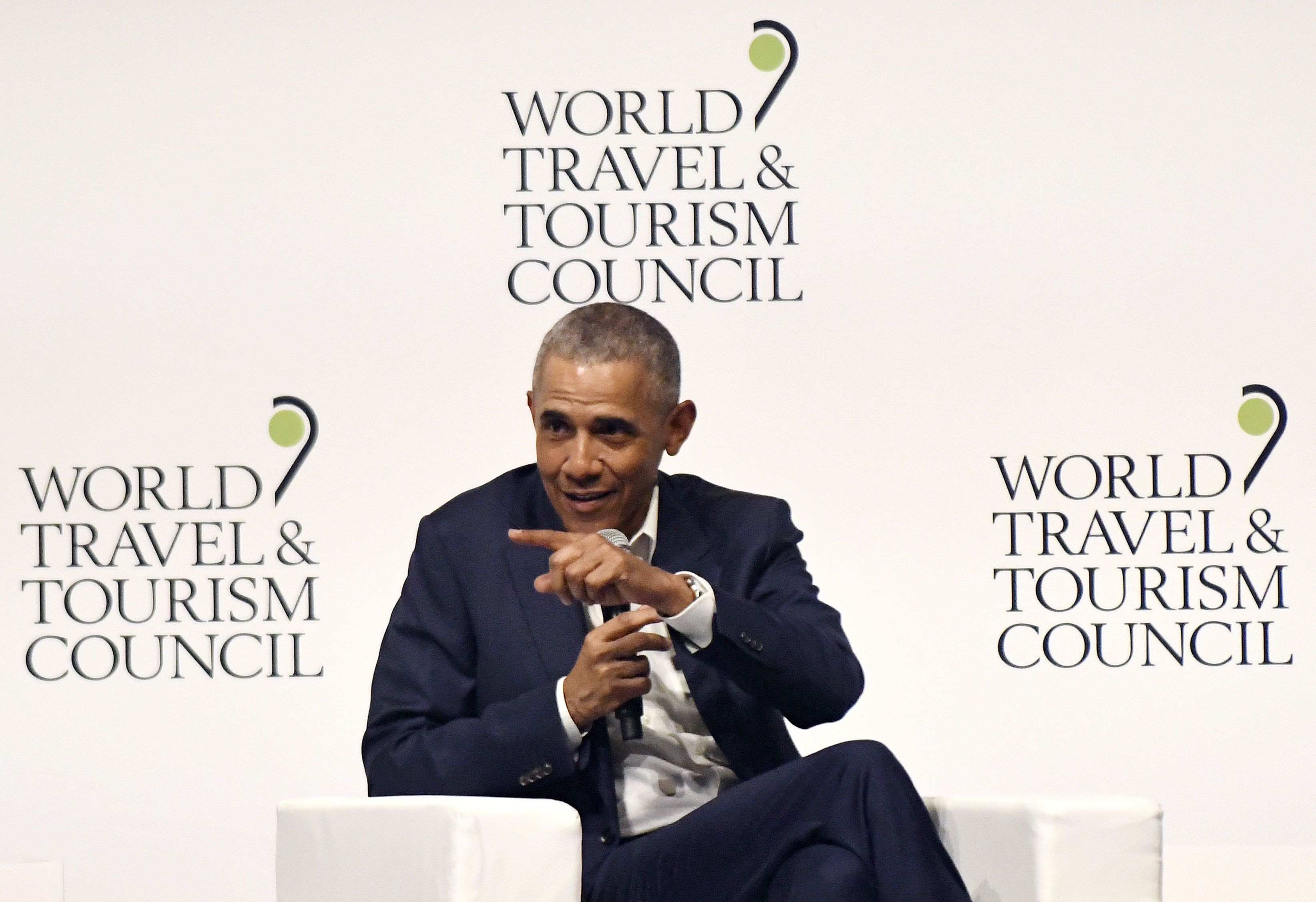 bfa8cb6c809abe Barack Obama Made a Very Stylish Appearance at the World Travel & Tourism  Council Forum