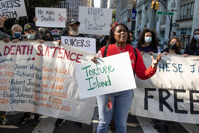 rikers island protest