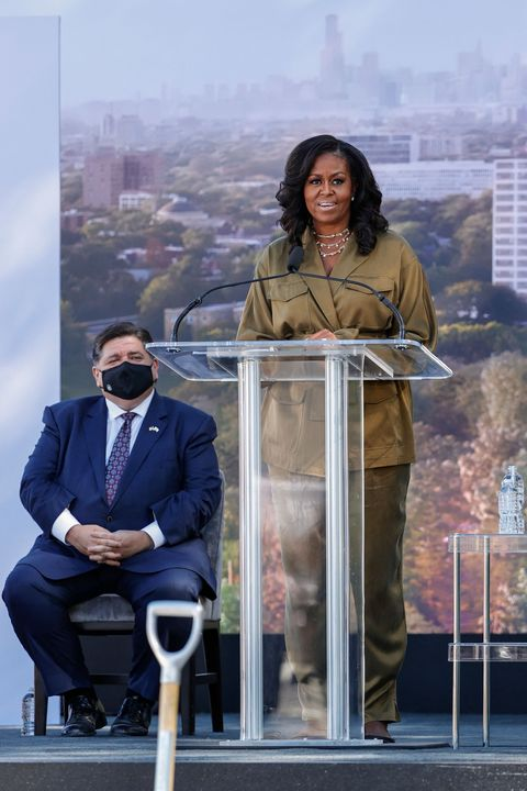 michelle obama at the groundbreaking for the obama presidential center