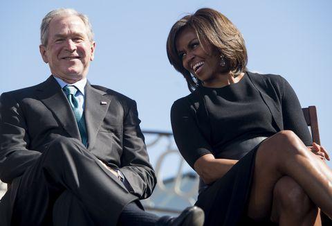 4735c543a0a George W. Bush and Michelle Obama's Friendship History - Best Michelle  Obama and George W. Bush Moments