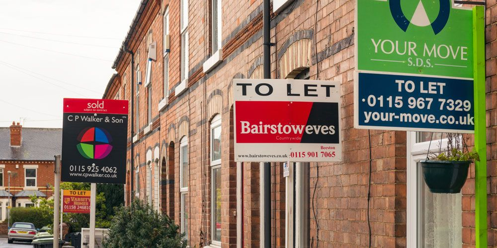 Row of houses for sale