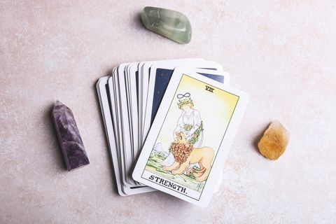 fortune telling tarot cards and mineral stones