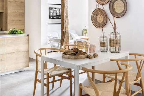 Furniture, Room, Table, Interior design, Yellow, Property, Wall, Dining room, Wood, Chair,