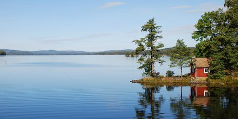 Body of water, Water, Reflection, Nature, Lake, Sky, Natural landscape, Tree, Shore, Water resources,