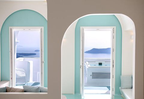 Blue, Interior design, Room, Teal, Turquoise, Aqua, Fixture, Azure, Arch, Rectangle,