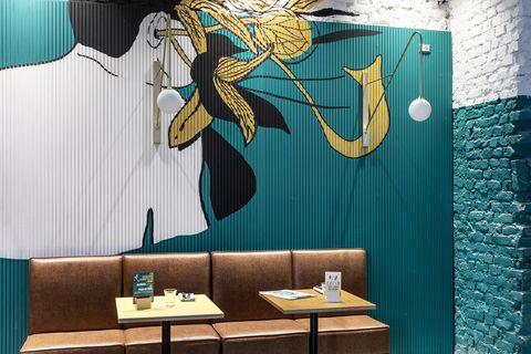 Interior design, Wall, Table, Turquoise, Teal, Art, Interior design, Wallpaper, Symbol, Illustration,