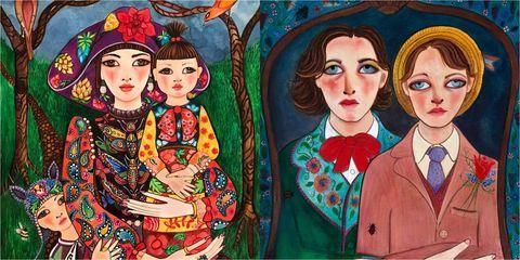 Collar, Style, Art, Paint, Artwork, Painting, Illustration, Tradition, Visual arts, Drawing,