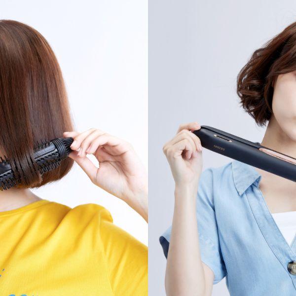 靠Panasonic的EH-HT45捲髮梳 & EH-HS99奈米水離子直髮捲燙器,只要三步驟,就能捲出日韓明星最夯的短髮造型!
